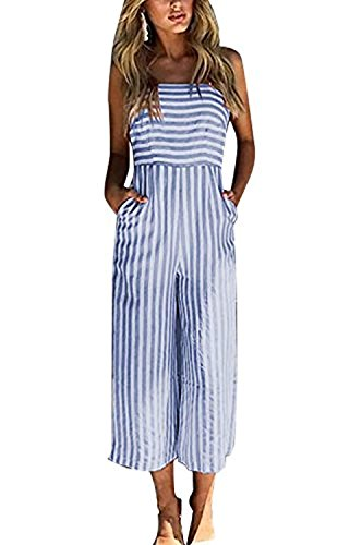 Yigoo Jumpsuit Damen Sommer Hosenanzug Elegant Overall Festlich Freizeit Hose Bodysuit Lang Breites Bein Blau M