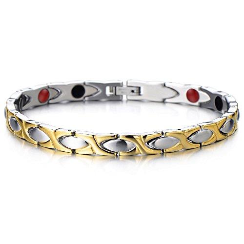 COOLSTEELANDBEYOND Link Bracelet for Women Stainless Steel, Free Link Removal Tool