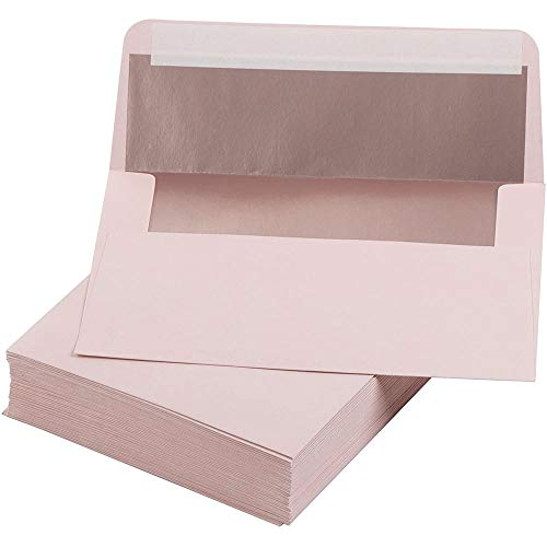 Pink Invitation Envelopes with Rose Gold Foil Colored Lining, for 5x7 Cards (5.25 x 7.25 In, 50 Pack)