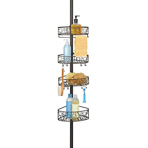 iDesign Twigz Metal Wire Rod Corner Shower, Adjustable 5'-9' Pole and Baskets for Shampoo, Conditioner, Soap with Hooks for Razors, Towels, Tension Caddy