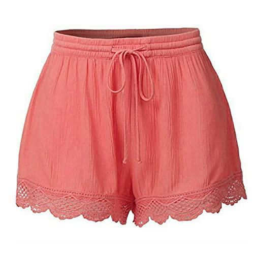 Pantalones cortos para mujer con bolsillos, pernera ancha, sueltos, ligeros, ligeros, ventilados, para la playa Rosa. S