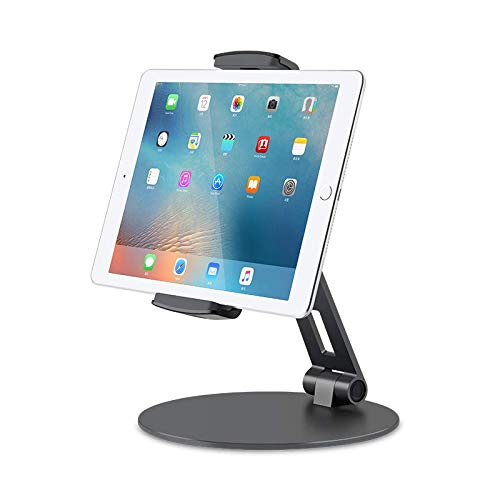 Thingy Club Tablet Stand Holders with Adjustable Range and Height-Viozon Aluminum Stand for ipad/ipad pro/ipad Mini/Cellphone/Kindle Desk Holder fits 4-14inches, 360° Swivel Adjustable Base (Grey)