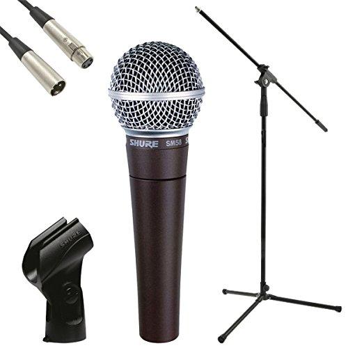 Shure SM58- Microfono dinamico, supporto microfono JB, XLR-XLR Lead di6metri e pacchetto clip microfono