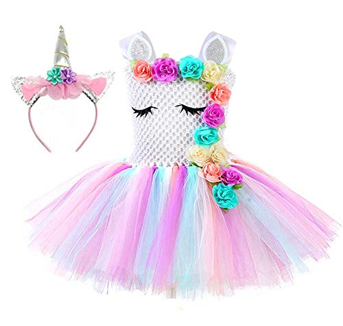 Tutu Dreams Unicorn Outfits for Baby Girls 1-2 Years Old Birthday Halloween Party (Pastel Pink, 1-2T)