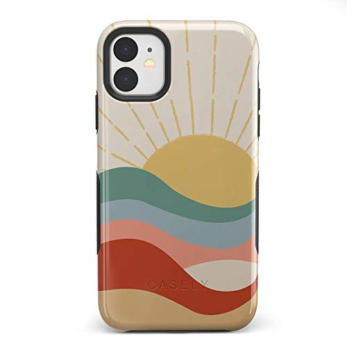 Casely iPhone 11 Phone Case - Here Comes The Sun | Colorblock Sunset Case - 360 Degree Coverage for Your Phone - Precise Cutouts, 1 mm Raised Lip Camera Protection - Bold