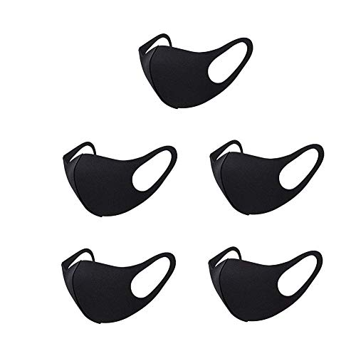 5 Pack Fashion Black Stretch Lightweight Fabric Covering Face and Mouth Reusable Washable Fashionable for Unisex