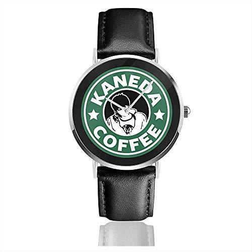 Unisex Akira Kaneda Kaffee Logo Uhren Quarz Lederuhr mit schwarzem Lederband