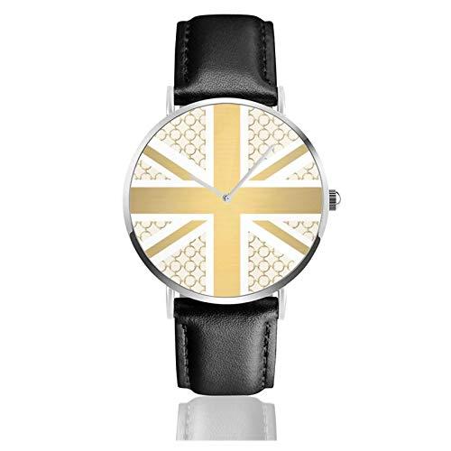 Reloj de pulsera minimalista de cuarzo con bandera de Reino Unido con correa de cuero ecuestre dorado