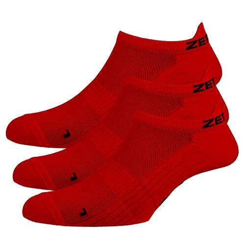 Zen Core rote Sneaker Füßlinge 3, 6, 12 Paare, Größe 40-43 und 44-47 für Herren, kurze Socken, Sport&Freizeit, Laufsocken, Fitness, Fahrradfahren, Running Socken, Atmungsaktiv, Antiblasen