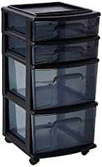 4 medium width deep drawers, capacity ideal to store all personal items, such as; shoes, clothes, office supplies, art supplies, toys, bath items, seasonal holiday decorations, and more Easy access see-through drawers are built from durable smoke tin...