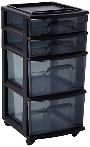 HOMZ Plastic 4 Drawer Medium Cart, Black Frame with Smoke Tint Drawers, Casters, Set of 1