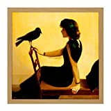 Harry Willson Watrous The Chatterers 1913 Painting Square Wooden Framed Wall Art Print Picture 16X16 Inch ペインティング木材壁画像
