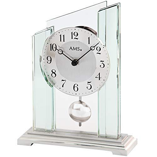 AMS - Quarzuhr -Tischuhr mit Pendel - Pendeluhr - Mineralglasgehäuse - Metallsockel - Aluminium-Zifferblatt