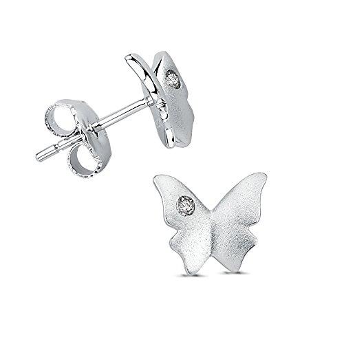 Vinani Ohrstecker Schmetterling mit weißem Zirkonia sandgestrahlt rhodiniert Sterling Silber 925 Falter Ohrringe 2OSH