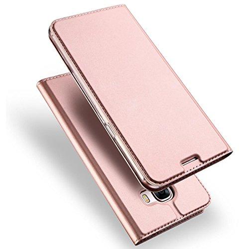 Verco Handyhülle für Galaxy A5 (2017), Premium Handy Flip Cover für Samsung Galaxy A5 Hülle [integr. Magnet] Book Hülle PU Leder Tasche [A5 A520], Rosegold