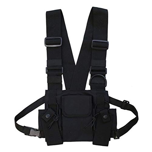 Balight Men Women Chest Rig Bag Chaleco multibolsillos Hip Hop Streetwear Funcional Tactical Harness Rig Chest Rig Pack Ajustable Riñonera Práctico
