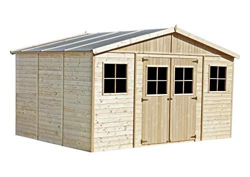 TIMBELA M331 Caseta de jardín de madera para exterior - Caseta de pino / abeto, construcción de paneles - H246 x 418 x 320 cm / 12 m2