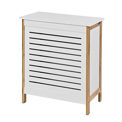 SoBuy FSS66-WN Wäschetruhe Wäschekorb Wäschebox Wäschesammler Wäschetonne mit Deckel Weiß+Natur