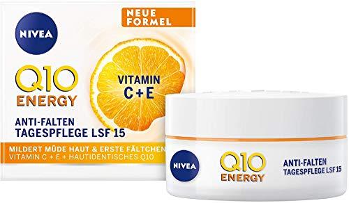 NIVEA Q10 ENERGY Anti-Falten Tagespflege LSF 15 (50 ml), Gesichtscreme mit 100% hautidentischem Q10, Vitamin C und Vitamin E, Tagespflege mildert Fältchen und sorgt für straffere Haut