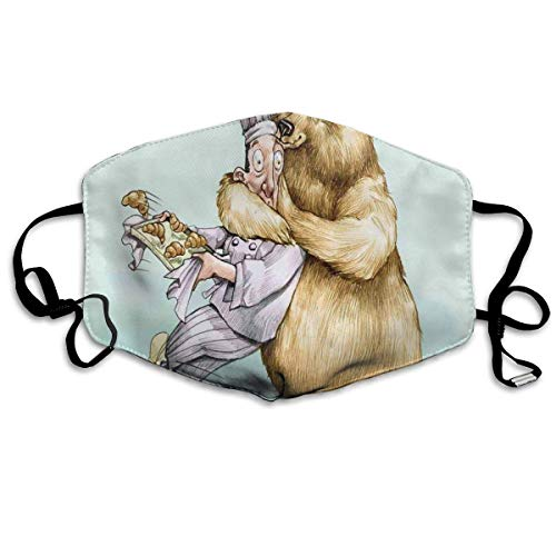 Protector facial transpirable para cubrir el polvo, Big Bear Fully Hugs The Pastry Animal Love Humor Satire Romance Theme Artful, decoración facial.