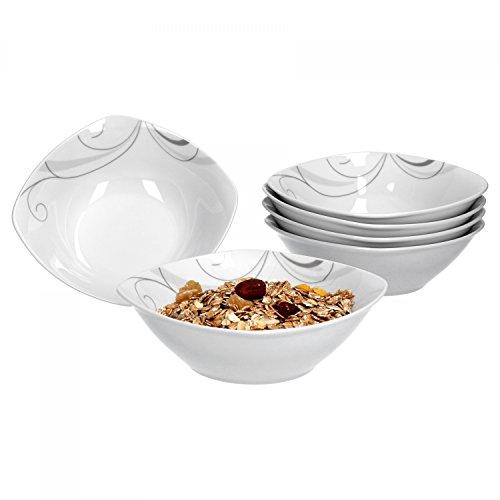 Van Well Portofino Lot de 6 bols à céréales, bols à soupe, petits bols, Ø 14,3 cm, 300 ml, décor en forme de vigne