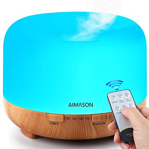 Humidificador Ultrasónico,Control Remoto Difusor de Aromaterapia,Difusor de Aceites Esenciales con LED,Purificador de Aire para en el Hogar,Oficina,Bebé,Sp