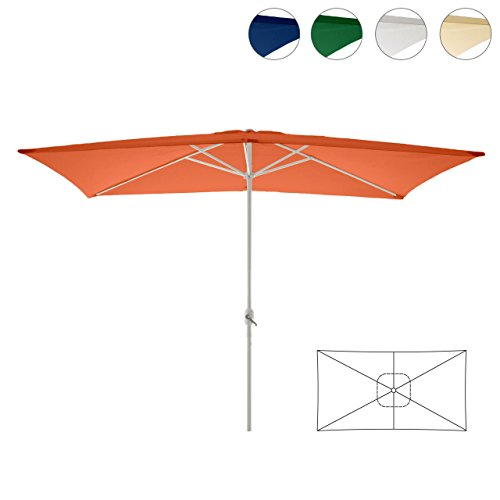 Nexos Sonnenschirm, orange, 200x300 cm quadratisch, Gestell Stahl, Bespannung Polyester, 6 kg