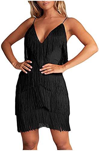 keland Vestido de Fiesta con Flecos para Mujer, Espalda Abierta, años 20, Gatsby,Ropa Fiesta Mujer (Negro, S)