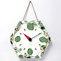 NO Brands Girl Heart Hanging Rope Wall Clock Living Room Decoration Creative Clock Simple six-Sided Silent Wall clock-14 inches_Green