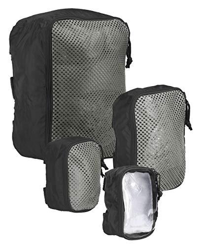 Tasmanian Tiger TT Modular Pouch Set gepolsterte halb-transparente Organizer Rucksack Zusatz-Taschen Set in 3 Größen mit Klett-Rückseite, Schwarz