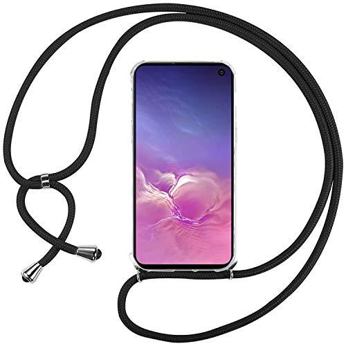Ingen Funda con Cuerda para Samsung Galaxy S10e - Carcasa Transparente TPU Suave Silicona Case con Colgante - Negro