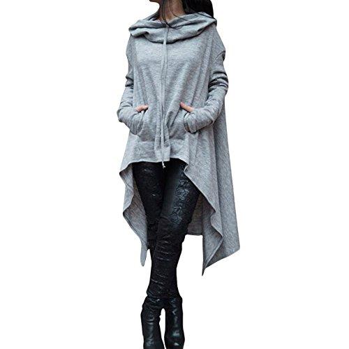 YWLINK Frauen Elegant Asymmetrische Bluse Loser Hoodie Lange Kapuze Oberteile Damen Sweatshirt Pulli Pullover Rollkragen(XXXXL,Grau)
