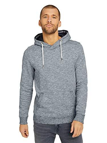 TOM TAILOR Herren Strick & Sweatshirts Melierter Hoodie Off White,XL,10332,2000