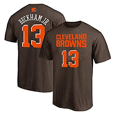 NFL Youth 8-20 Team Color Polyester Performance Mainliner Player Name and Number Jersey T-Shirt (Large 14/16, Odell Beckham Jr Cleveland Browns Brown)