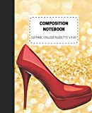 Red High Heel Shoes Gold Glitter Composition Notebook: 110 Pages Perfect For Women Teens And College Students