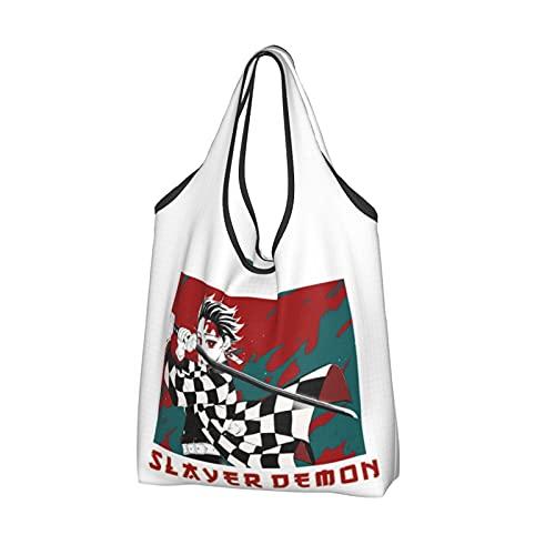 Demon Slayer Rengoku Kyoujurou Bolsa de la compra reutilizable Bolsas de asas ligeras Bolsa grande Bolsas de comestibles, color, talla Talla única