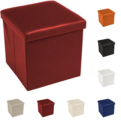Tata Home Pouf Puff Contenitore Scatola Cubo Poggiapiedi Sgabello in Ecopelle Similpelle Misura 38 x 38 x 38 cm Colore Bordeuaux
