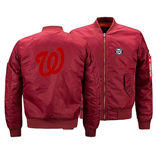 GMRZ MLB Men's Jacket, with Washington Nationals LOGO Major League Baseball Team Sweatshirts Fans Jerseys Sweat Jacket with Warm Winter Outdoor Ski Jacket,B,L