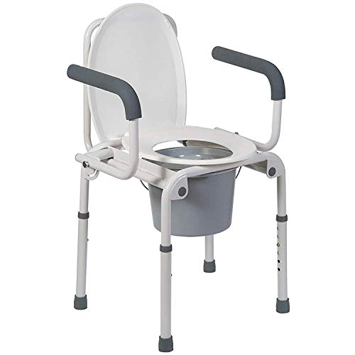 DMI Portable Bedside Toilet, Deluxe Commode For The Elderly, Drop Arm Commode For Easy Transfers, Steel Bedside Commode, Easy No Tool Assembly, White