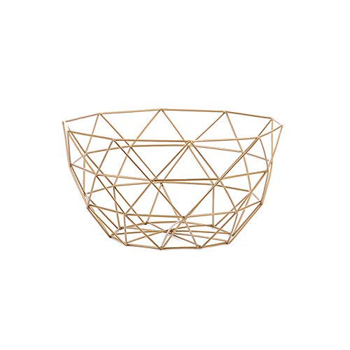 IBWell Ten horns Middle-scale Modern Creative Stylish Single Tier Dish,Metal Iron Wire Fruit Vegetables Bread Decorative Stand Serving Bowls Basket Holder (Black 1PCS) (Gold 1PCS)