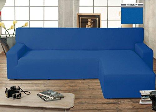 BIANCHERIAWEB Copridivano Genius con Penisola Chaise Longue Modello Swing Colore Blu Destra Blu