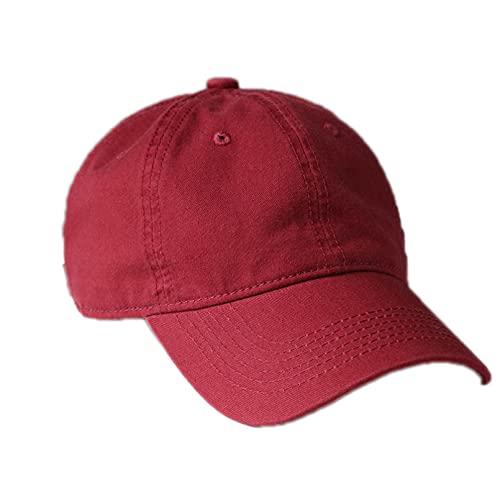 Q4S Gorra De Béisbol De Algodón De Calidad para Hombres Y Mujeres, Gorra Snapback Sólida A La Moda, Sombrero De Papá, Sombrero De Sol De Verano Lavable-Vino Tinto