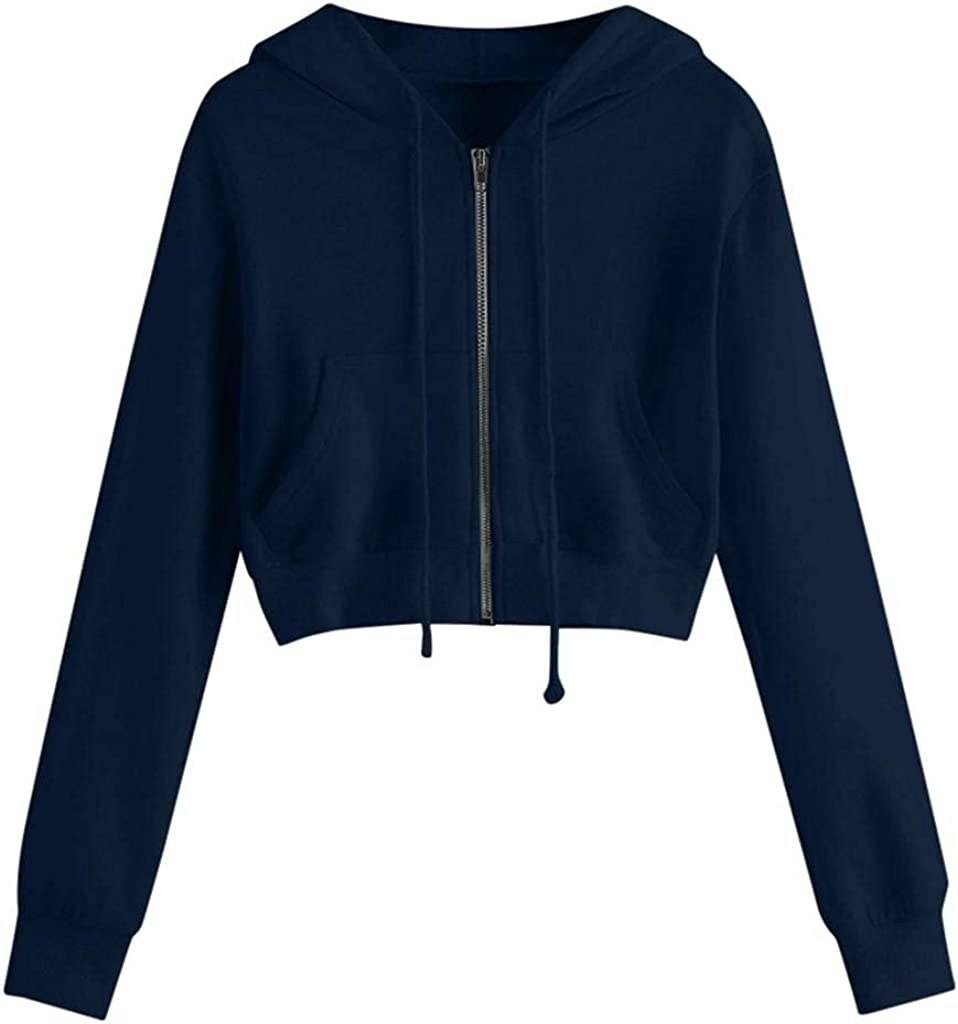 Women's Cropped Zip Up Hoodie Casual Workout Hooded Sweatshirts Jacket with Pockets Long Sleeve Crop Tops