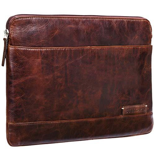 STILORD 'Robb' Vintage Leder Laptoptasche für 13,3 Zoll MacBooks MacBooktasche Universal Tablettasche bis 14 Zoll DIN A4 echtes Rindsleder, Farbe:Mocca - Dunkelbraun