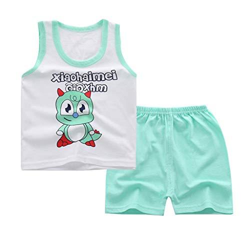 Sommer Shirt Top Jungen Kinderbekleidung Baby Kinder Mädchen Sommer Cartoon Weste + Shorts Outfit Set Kleidung