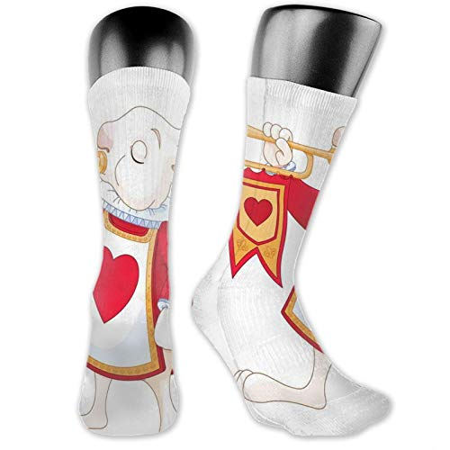 High Ankle Cotton Casual Crew Socks For Women Men,Rabbit Playing Royal Trumpet With Heart Design Animal Card Kids
