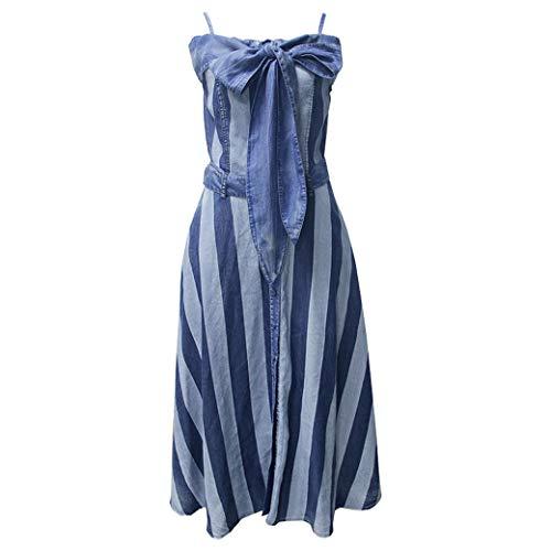 E-girl Damen Gestreift Swing Jeanskleid Ohne Arm Kleid,DA82180,Blau,L