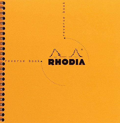 Rhodia 19360C Reverse Book (mit Spiralbindung, kariert, quadratisch, 21 x 21 cm, 80 Blatt) 1 Stück farbig sortiert