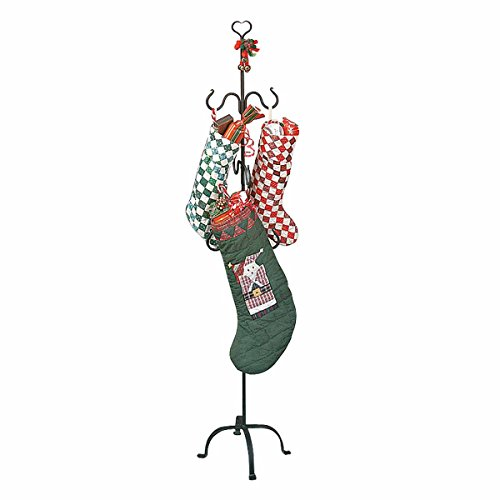 Christmas Stocking Holder Free Standing Wrought Iron Easy Assembly 6 Hooks Hangers Fireplace Mantle Replacement Floor Stand Holds Stockings Gifts 20lbs A Hook Heart Top