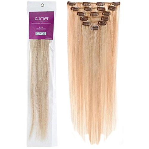 Lina 7Pcs Women Human Hair Clip In Silky Soft Straight Extensions #27/613 Dark Blonde Mixed With Light Blonde Silky Soft